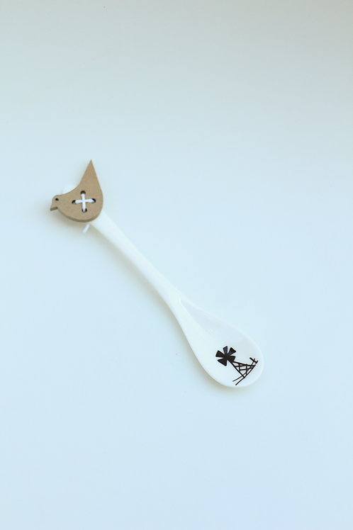 Ceramic spoon Windmill handdrawn