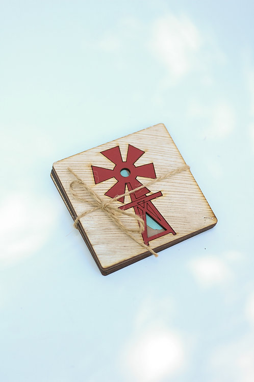 coaster set of 4 windmill