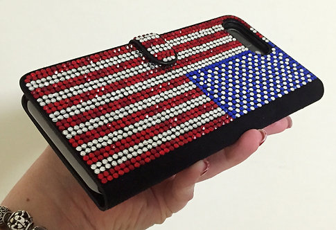 Crystallized USA American Flag Wallet Case