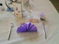 idée pliage serviette violette