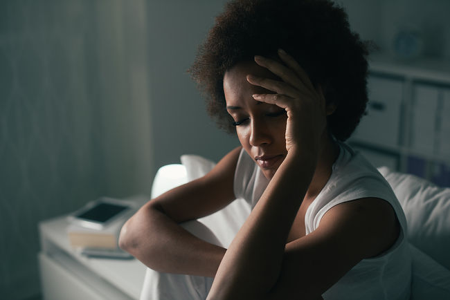 Sad depressed woman suffering from insom