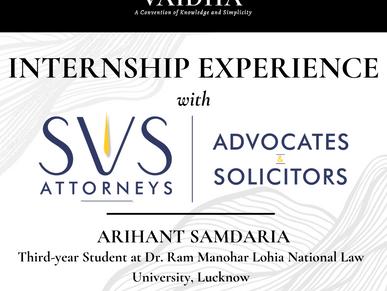 VIRTUAL INTERNSHIP EXPERIENCE AT SVS ATTORNEYS, JABALPUR- MR. SIDDHARTH R. GUPTA