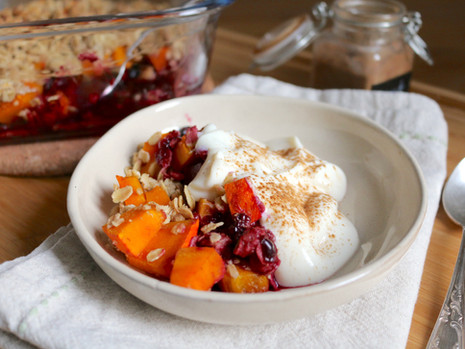 Dynia z owocami pod kruszonką (wegańskie, bezglutenowe, bez cukru rafinowanego)