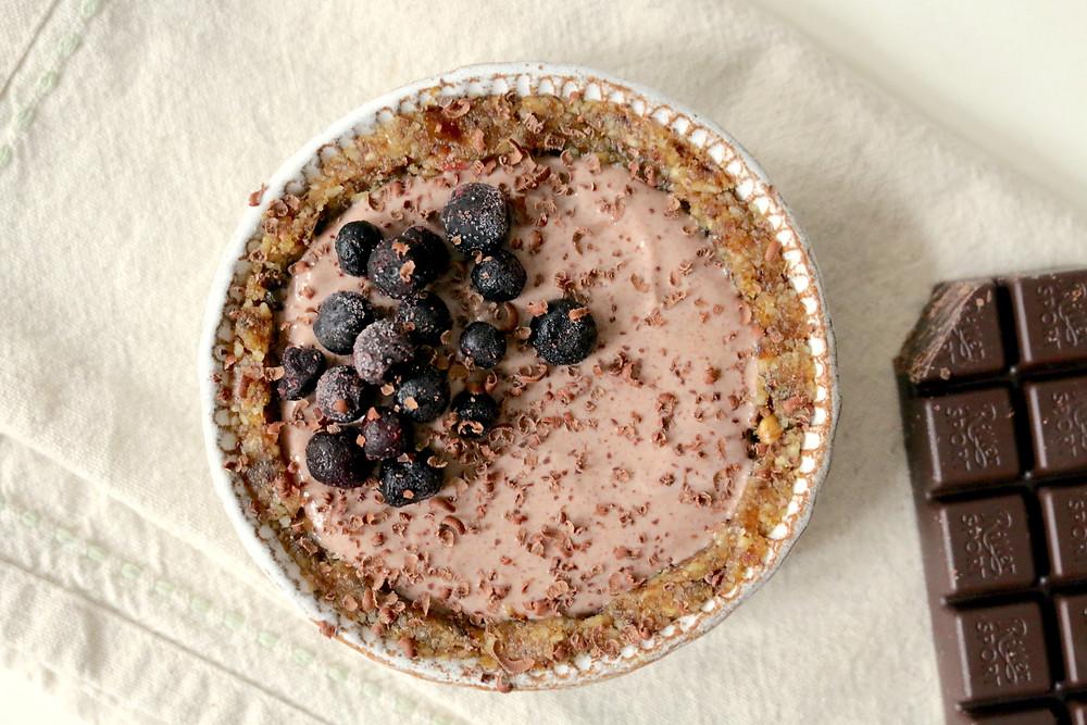Tartaletki z kremem kokosowo-czekoladowym (wegańskie, bezglutenowe, bez cukru rafinowanego)