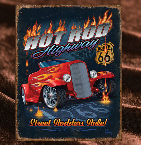 Tin Sign「Hot Rod Highway」
