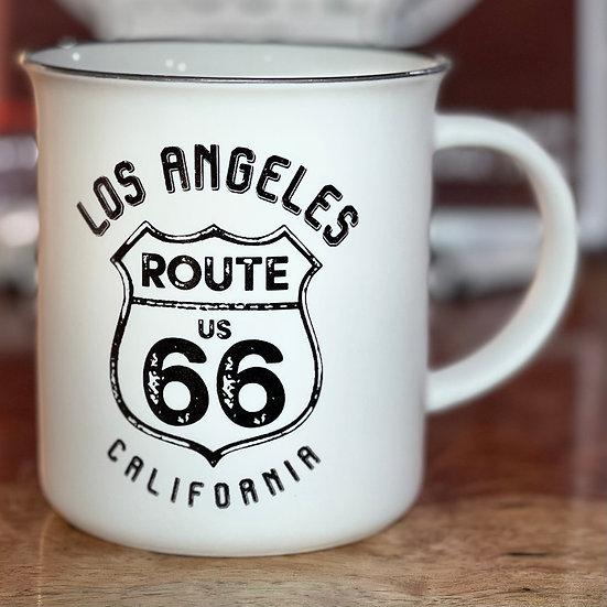 Los Angeles ルート66サインのマグカップ(白)