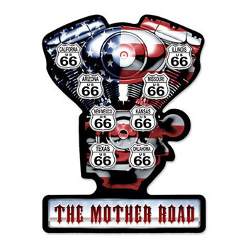 Big Twin Engine 8州サインボード The Mother Road型抜