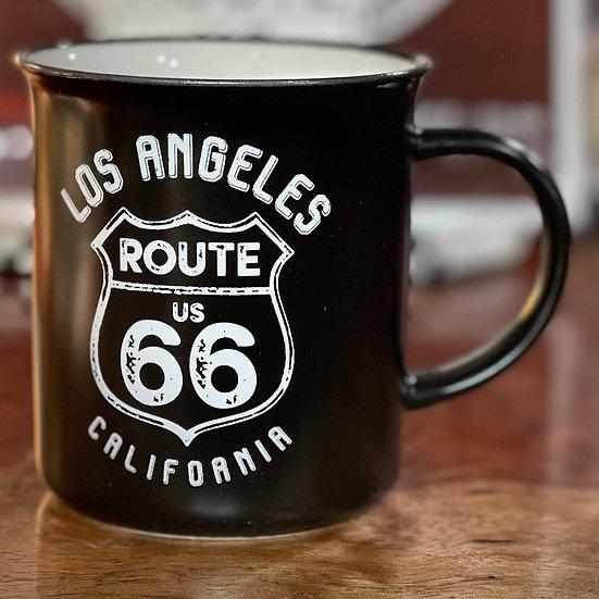 Los Angeles ルート66サインのマグカップ(黒)