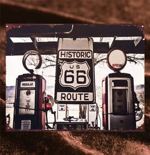 Tin Sign「Route66 Gas Station ダイカット」