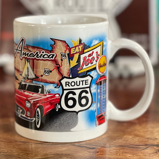 ルート66地図&ランドマークイラスト入りマグカップ