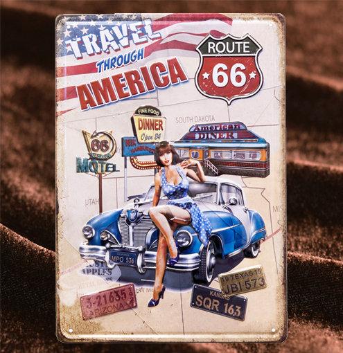 Tin Sign「Travel Through America」