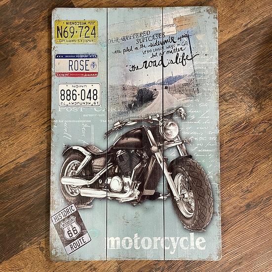 ルート66サインとバイクの木製サインボード