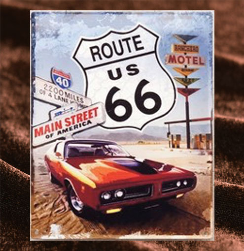 Tin Sign「Route66 MAIN STREET ダイカット」