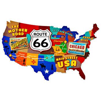ルート66経路入りアメリカマップを型抜