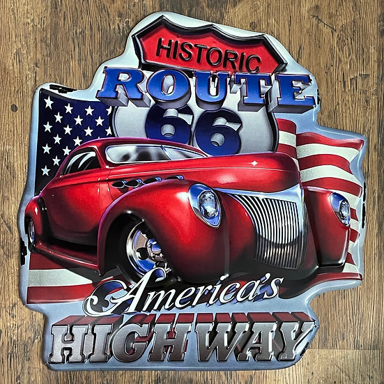 Tin Sign「Route66 America's Highway ダイカット」