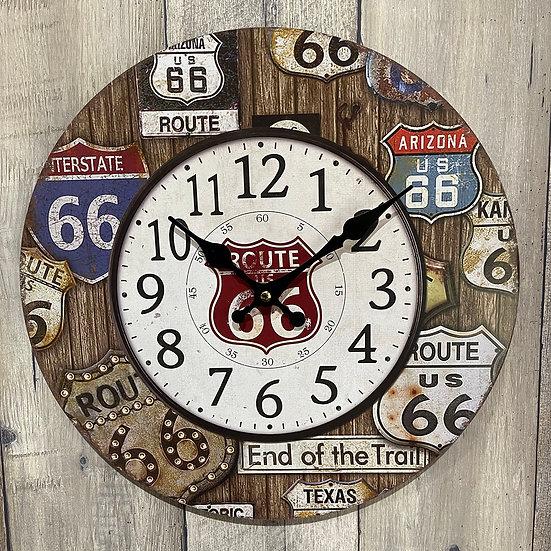 ルート66サイン掛け時計