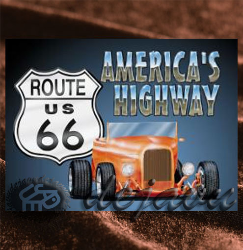 Tin Sign「America's Highway Roadster」