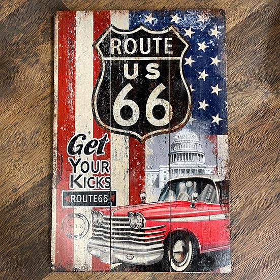 ルート66サインと星条旗の木製サインボード