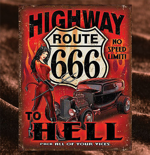 Tin Sign「Route666 to Hell」