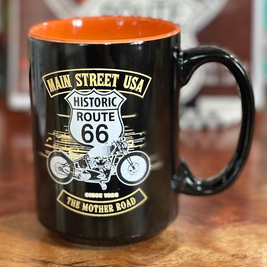 ルート66ロゴ&バイクイラストのマグカップ