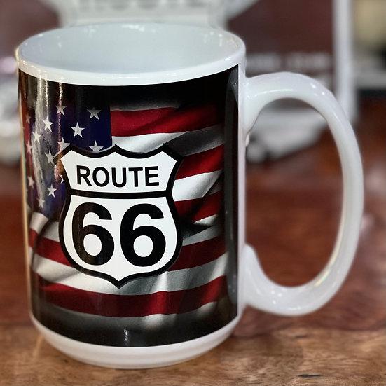 星条旗&ルート66サインのマグカップ