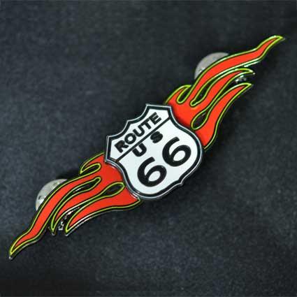 ルート66ロゴ入りレッドウイングピンバッジ─大