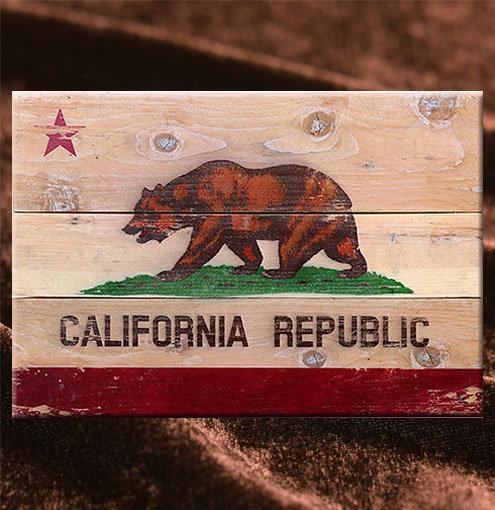カリフォルニア州旗の木製サインボード