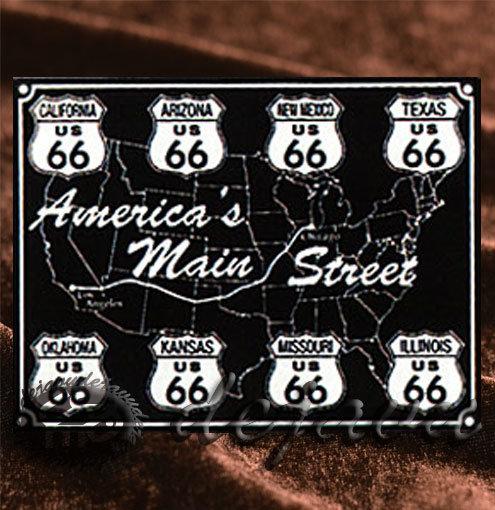 Tin Sign「America's Main Street Map &  Sign Board 8州」