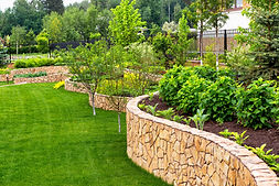 Natural landscaping with decorative ston
