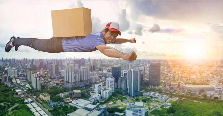 delivery man flying over city scape with