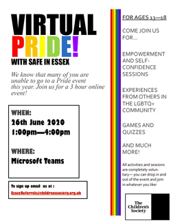 VIRTUAL PRIDE! WITH SAFE IN ESSEX