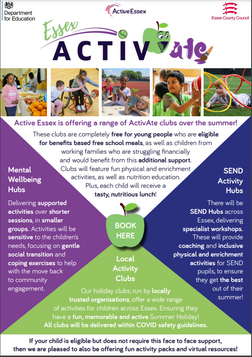 Active Essex is offering a range of ActivAte clubs over the summer!