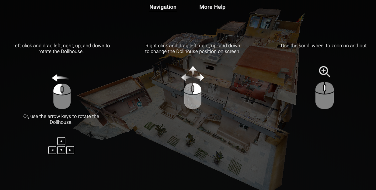 How to move in the virtual tour with mouse or keyboard