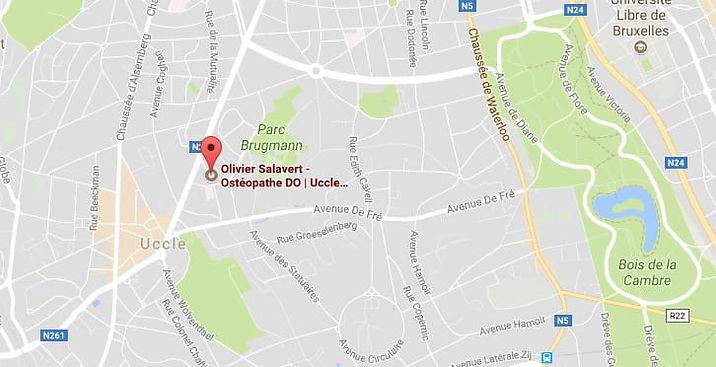 carte indiquant un bon ostéopathe pour des urgences à Uccle, Bruxelles
