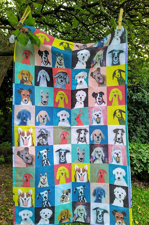 Daft dogs tea towel