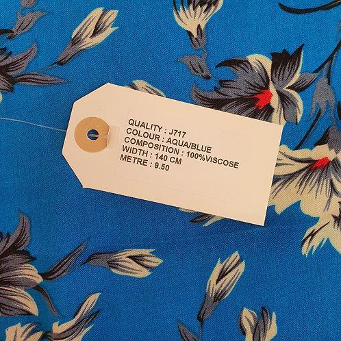 Blue floral print viscose fabric