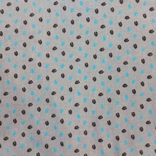 Cotton chambray leaf print