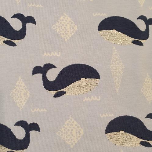 Glitter Whales Print Jersey
