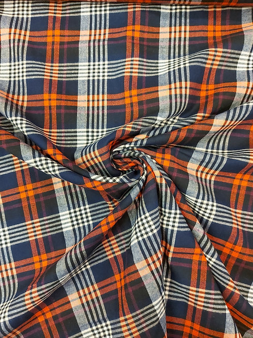 Blue red and white check lightweight cotton