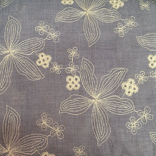 Embroidered Cotton Fabric Blue