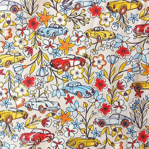 Retro cars and floral cotton