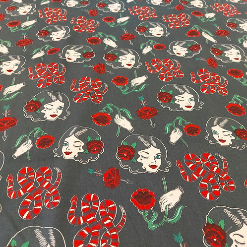 Pin up, rose and snake retro print stretch cotton