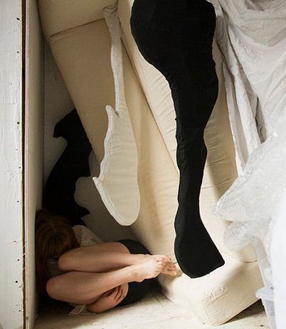 Digital photograph Ikea Klippan sofa, bubble wrap, cotton fabric, foam.