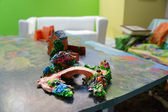 Installation:resin cast, acrylic paint, air-drying clay, acrylic paint, acrylic medium, billboard printed paper, mdf.