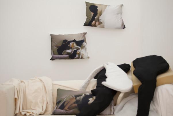 Installation shot: Two Years Digital printed fabric, stitched cushion covers, cusion inners, Ikea Klippan sofa, sofa cover, foam, cotton fabric.