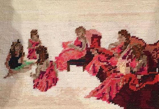 Installation detail: cross-stitched pew cusion, foam, wool, mesh.
