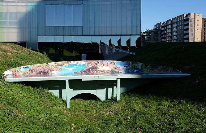Installation shot: (approx. 5m x 2m x 1m), timber, mdf and digital print on billboard paper.