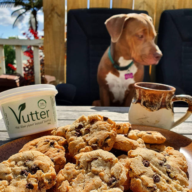 Peanut butter & chocolate chip cookie made with Vutter