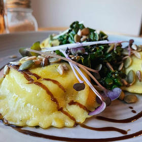 Cashew ricotta Ravioli pan fried with Vutter & Sage by The Botanist Lyall Bay