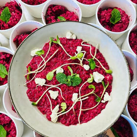 Beetroot & Feta Risotto made with Vutter - by PREP plant based meals